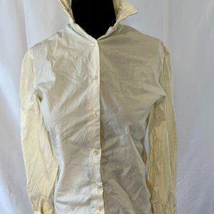 Sheer cream long sleeve shirt w/decorative pleats